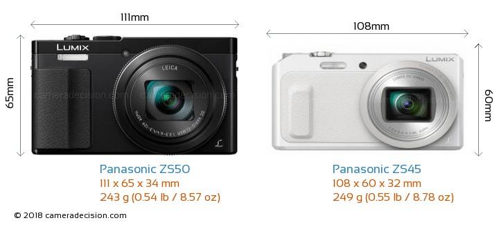 Panasonic ZS50 vs Panasonic ZS45 Camera Size Comparison - Front View