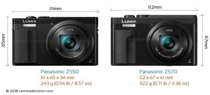 Panasonic ZS50 vs Panasonic ZS70 Camera Size Comparison - Front View
