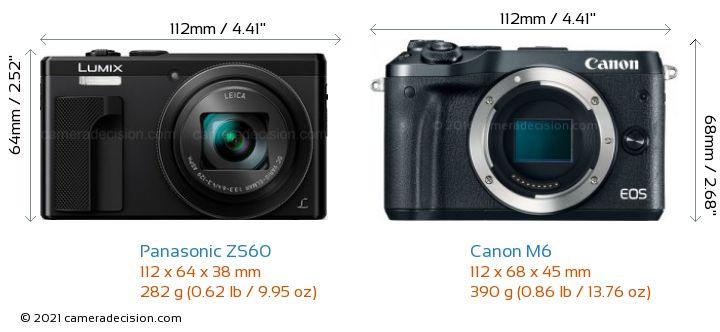 Panasonic ZS60 vs Canon M6 Camera Size Comparison - Front View