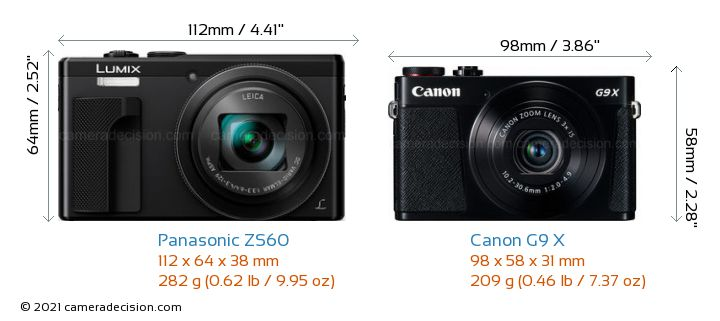 Panasonic ZS60 vs Canon G9 X Camera Size Comparison - Front View