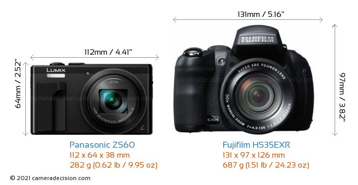 Panasonic ZS60 vs Fujifilm HS35EXR Camera Size Comparison - Front View