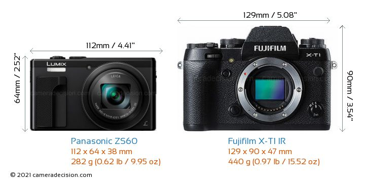 Panasonic ZS60 vs Fujifilm X-T1 IR Camera Size Comparison - Front View