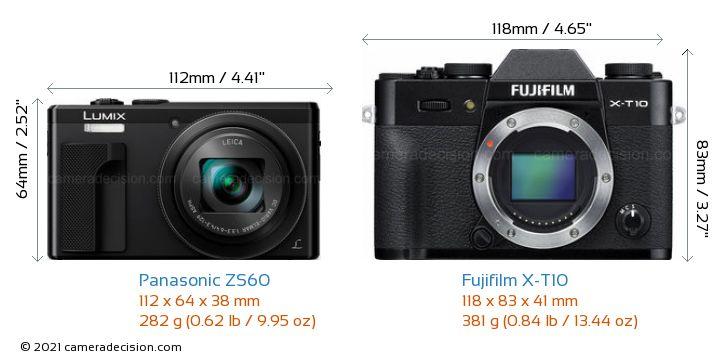 Panasonic ZS60 vs Fujifilm X-T10 Camera Size Comparison - Front View
