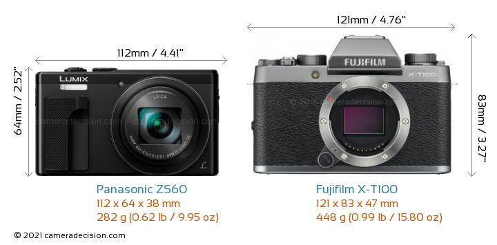 Panasonic ZS60 vs Fujifilm X-T100 Camera Size Comparison - Front View