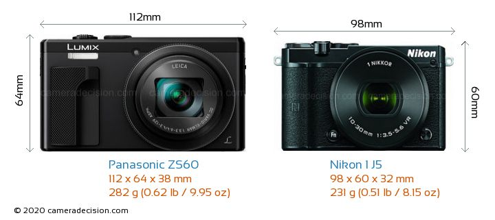Panasonic ZS60 vs Nikon 1 J5 Camera Size Comparison - Front View
