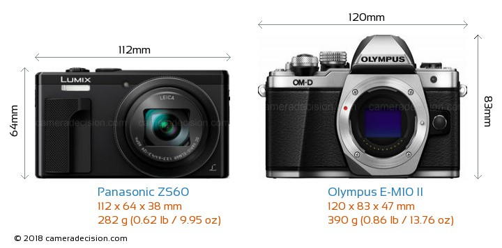 Panasonic ZS60 vs Olympus E-M10 II Camera Size Comparison - Front View