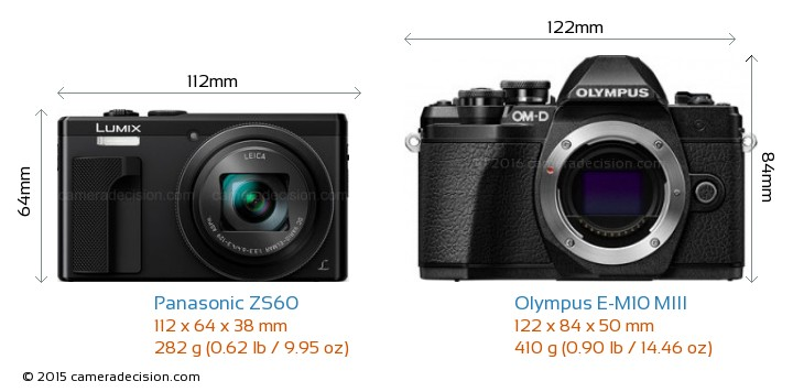 Panasonic ZS60 vs Olympus E-M10 MIII Camera Size Comparison - Front View