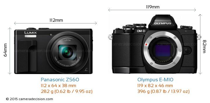 Panasonic ZS60 vs Olympus E-M10 Camera Size Comparison - Front View