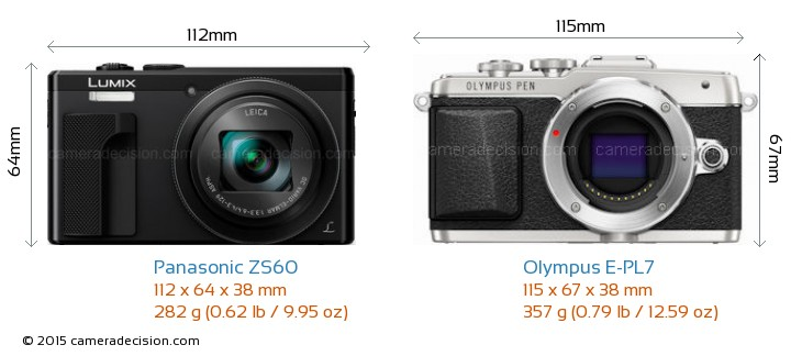 Panasonic ZS60 vs Olympus E-PL7 Camera Size Comparison - Front View