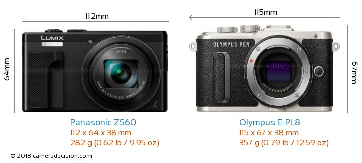 Panasonic ZS60 vs Olympus E-PL8 Camera Size Comparison - Front View