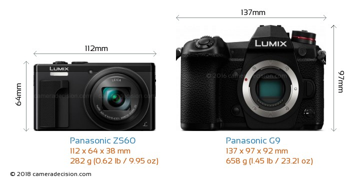 Panasonic ZS60 vs Panasonic G9 Camera Size Comparison - Front View