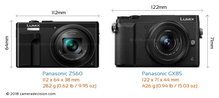 Panasonic ZS60 vs Panasonic GX85 Camera Size Comparison - Front View