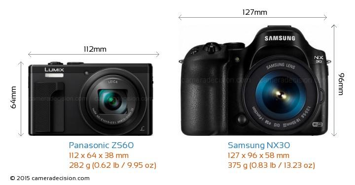 Panasonic ZS60 vs Samsung NX30 Camera Size Comparison - Front View