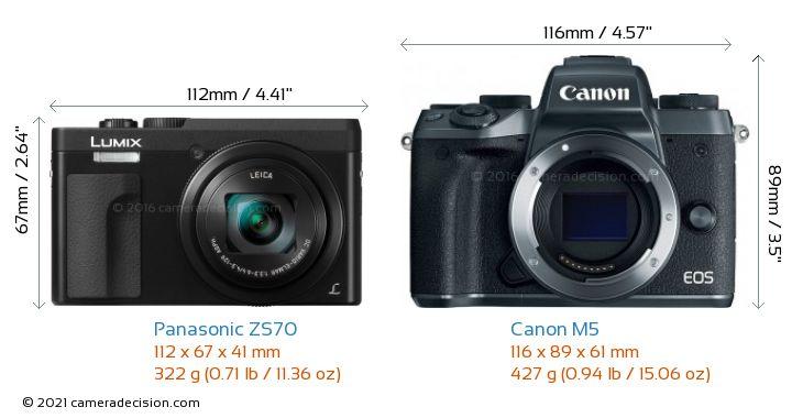 Panasonic ZS70 vs Canon M5 Camera Size Comparison - Front View