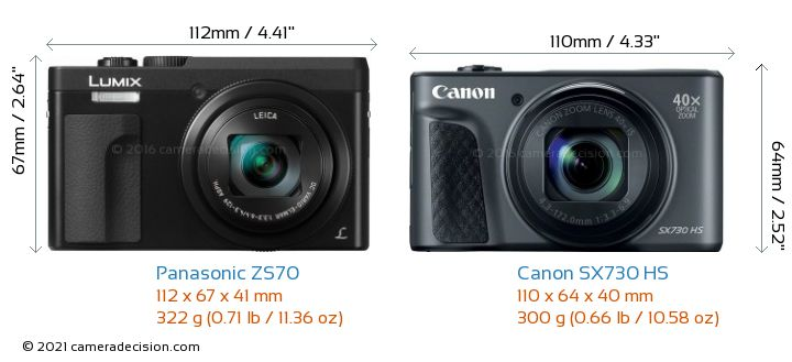 Panasonic ZS70 vs Canon SX730 HS Camera Size Comparison - Front View
