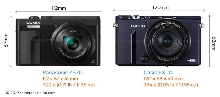 Panasonic ZS70 vs Casio EX-10 Camera Size Comparison - Front View