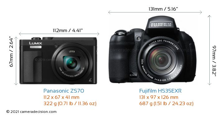 Panasonic ZS70 vs Fujifilm HS35EXR Camera Size Comparison - Front View