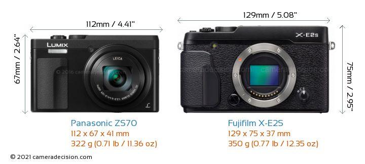 Panasonic ZS70 vs Fujifilm X-E2S Camera Size Comparison - Front View