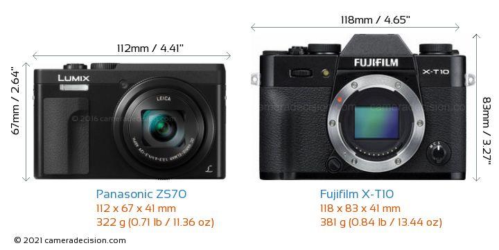 Panasonic ZS70 vs Fujifilm X-T10 Camera Size Comparison - Front View