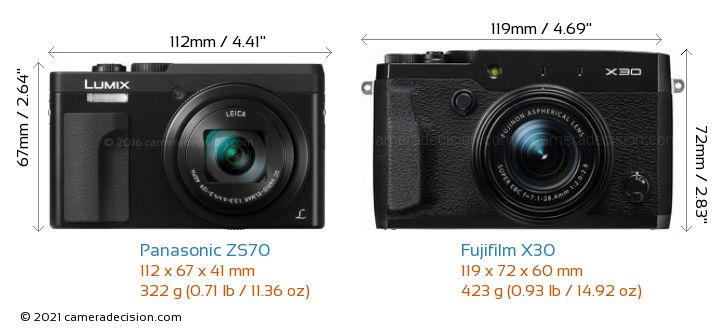 Panasonic ZS70 vs Fujifilm X30 Camera Size Comparison - Front View