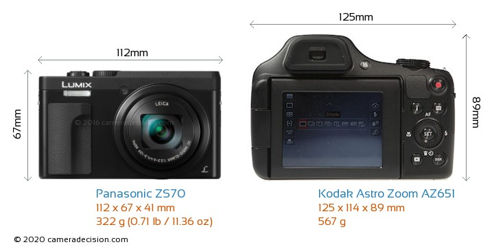 Panasonic ZS70 vs Kodak Astro Zoom AZ651 Camera Size Comparison - Front View