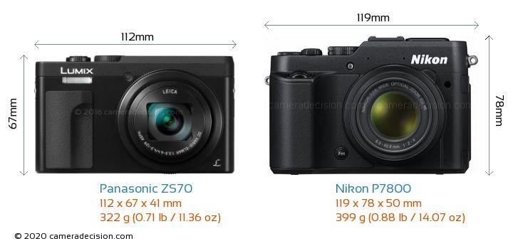 Panasonic ZS70 vs Nikon P7800 Camera Size Comparison - Front View