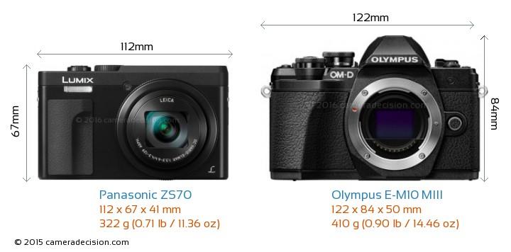 Panasonic ZS70 vs Olympus E-M10 MIII Camera Size Comparison - Front View