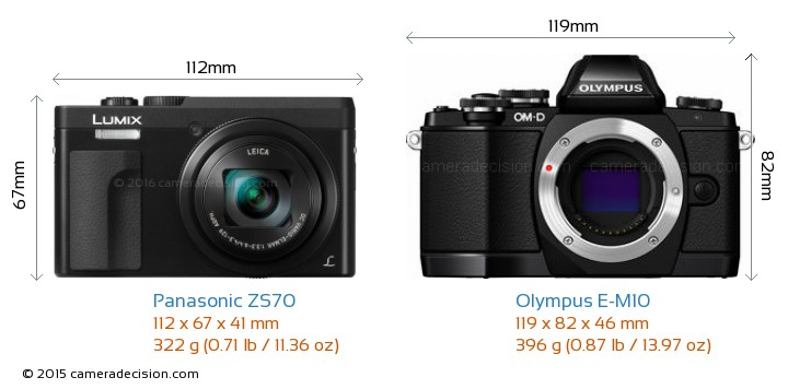 Panasonic ZS70 vs Olympus E-M10 Camera Size Comparison - Front View