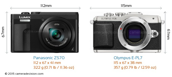 Panasonic ZS70 vs Olympus E-PL7 Camera Size Comparison - Front View