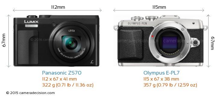 Panasonic ZS70 vs Olympus E-PL7 Camera Size Comparison - Front View