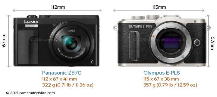 Panasonic ZS70 vs Olympus E-PL8 Camera Size Comparison - Front View