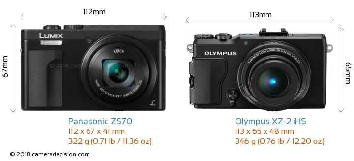 Panasonic ZS70 vs Olympus XZ-2 iHS Camera Size Comparison - Front View