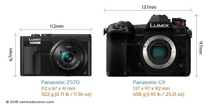 Panasonic ZS70 vs Panasonic G9 Camera Size Comparison - Front View