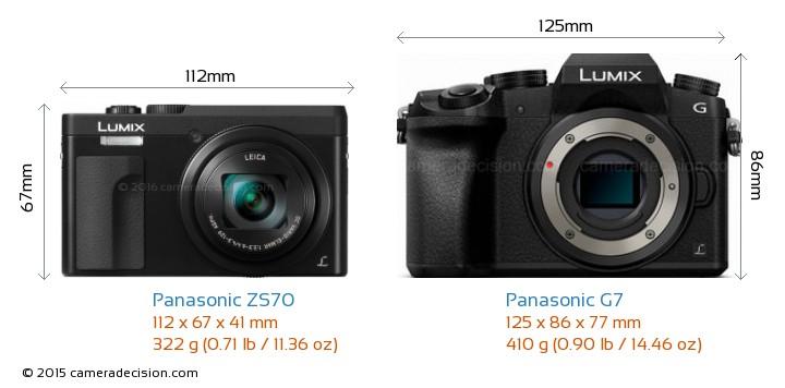 Panasonic ZS70 vs Panasonic G7 Camera Size Comparison - Front View