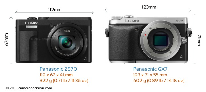 Panasonic ZS70 vs Panasonic GX7 Camera Size Comparison - Front View