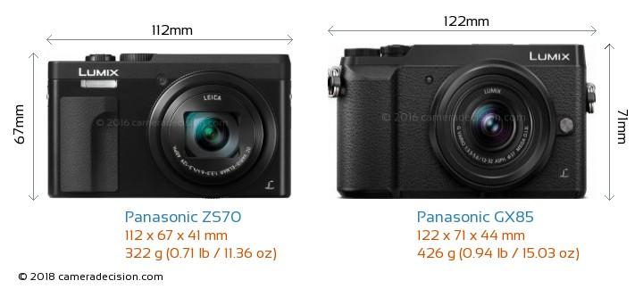 Panasonic ZS70 vs Panasonic GX85 Camera Size Comparison - Front View