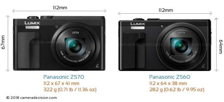 Panasonic ZS70 vs Panasonic ZS60 Camera Size Comparison - Front View