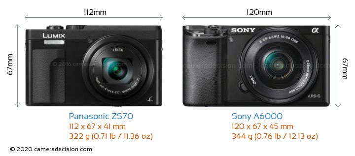 Panasonic ZS70 vs Sony A6000 Camera Size Comparison - Front View
