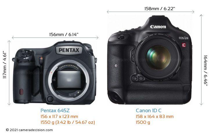 Pentax 645Z vs Canon 1D C Camera Size Comparison - Front View