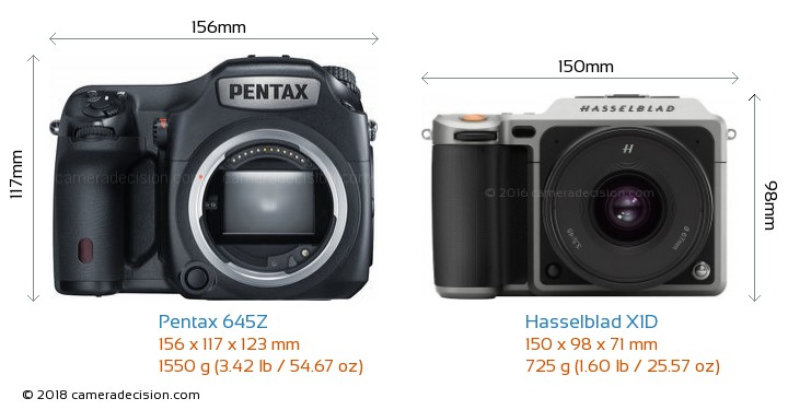 Pentax 645Z vs Hasselblad X1D Camera Size Comparison - Front View