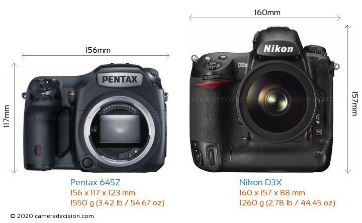 Pentax 645Z vs Nikon D3X Camera Size Comparison - Front View