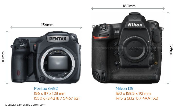 Pentax 645Z vs Nikon D5 Camera Size Comparison - Front View