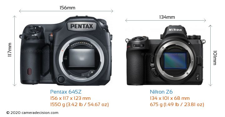 Pentax 645Z vs Nikon Z6 Camera Size Comparison - Front View