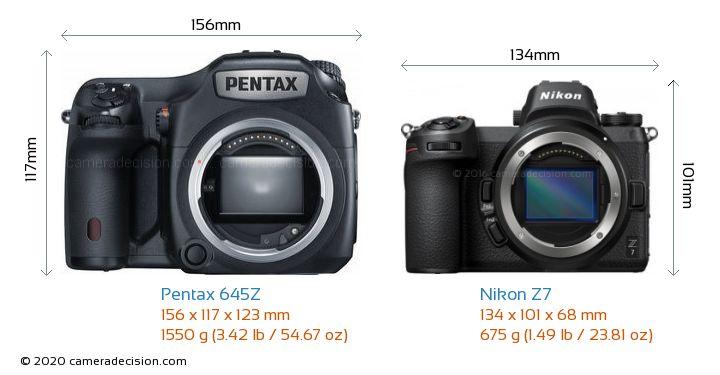 Pentax 645Z vs Nikon Z7 Camera Size Comparison - Front View