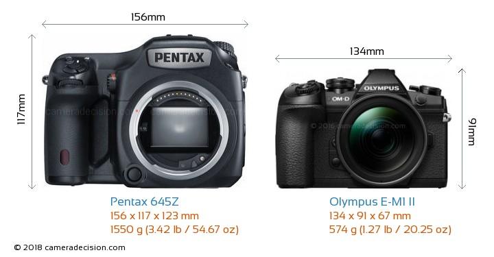 Pentax 645Z vs Olympus E-M1 II Camera Size Comparison - Front View