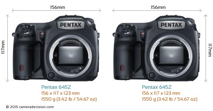 Pentax 645Z vs Pentax 645Z Camera Size Comparison - Front View