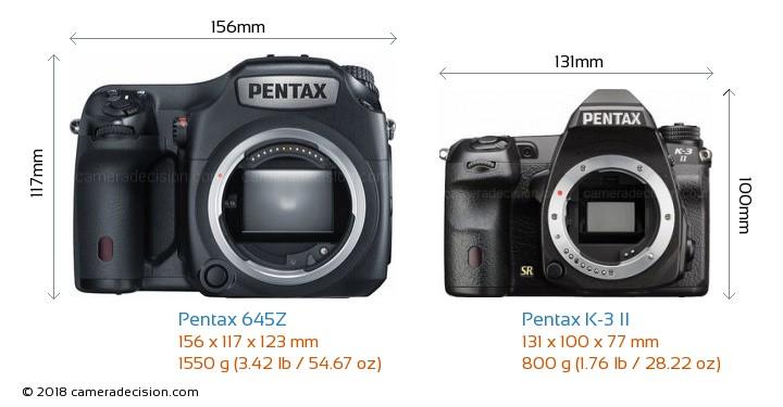 Pentax 645Z vs Pentax K-3 II Camera Size Comparison - Front View