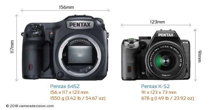 Pentax 645Z vs Pentax K-S2 Camera Size Comparison - Front View