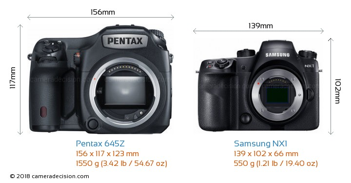 Pentax 645Z vs Samsung NX1 Camera Size Comparison - Front View