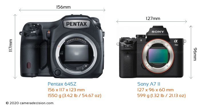 Pentax 645Z vs Sony A7 II Camera Size Comparison - Front View